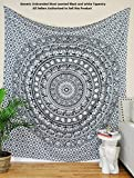 Most Wanted Black and White Tapestry Elephant Mandala Hippie Tapestry Indian Traditional Beach Throw Wall Art College Dorm Bohemian Wall Hanging Twin Bedspread (54 x 84 inches)