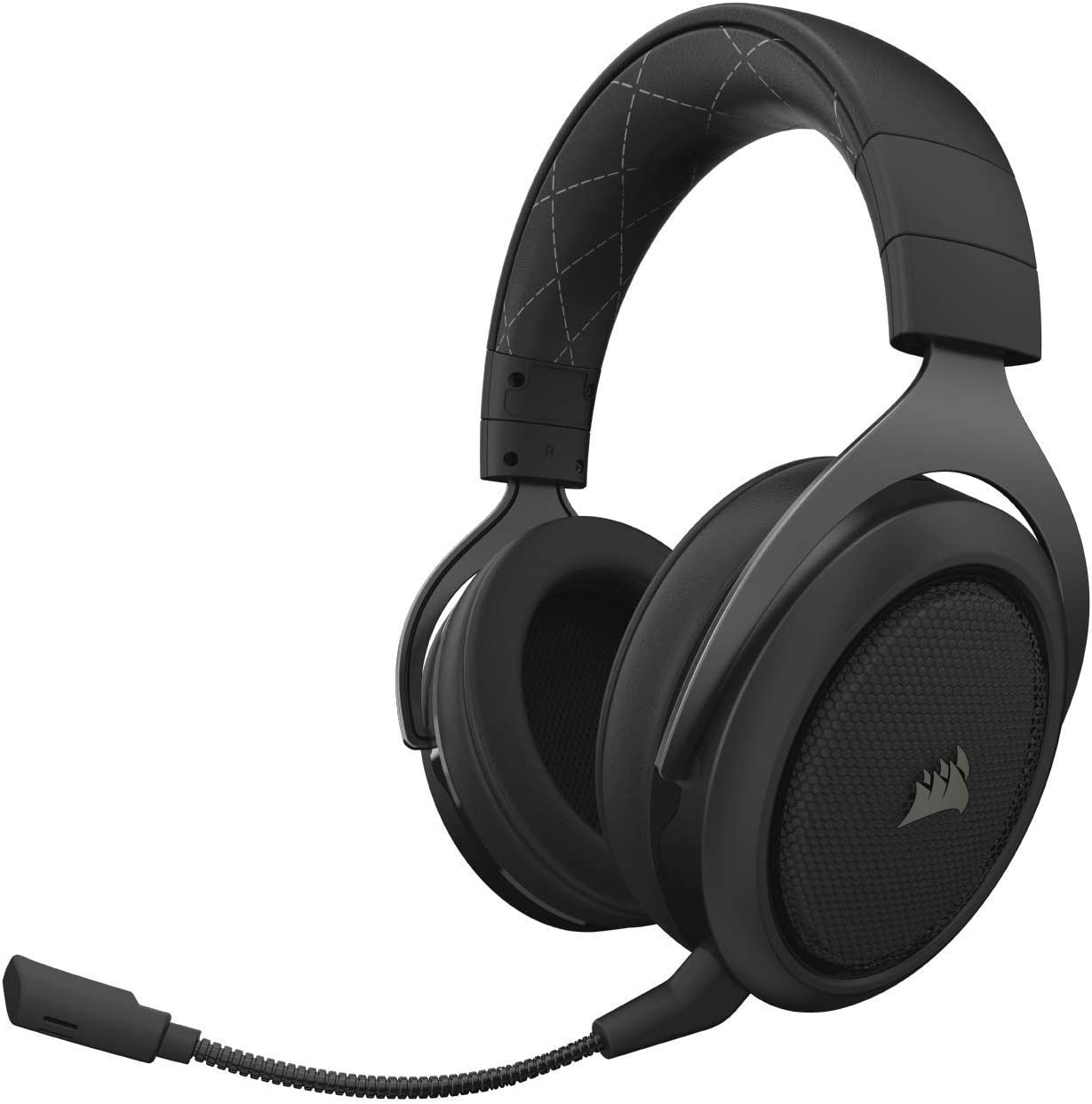 CORSAIR HS70 Wireless Gaming Headset - 7.1 Surround Sound Headphones for PC - Discord Certified - 50mm Drivers – Carbon (Renewed)