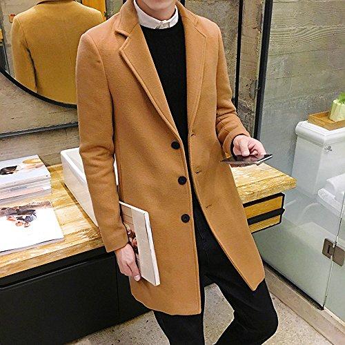Toimothcn Men Single Breasted Pea Coat Formal Business Blazer Suit Long Jacket Outwear (Khaki,5XL)