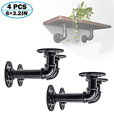 4Pcs Metal Decor Industrial Shelf Brackets, Iron Metal Black Iron Pipe Fittings,Custom DIY Floating Shelves,Shelf Hanging Wall Mounted Vintage Furniture Decorations(5.9in x 3.15in)