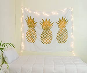 Labhanshi Sparkly Gold Pineapple Tapestry, Pineapple Tapestry Wall Art Hanging Tapestry for Living Room Bedroom Dorm Home Decor