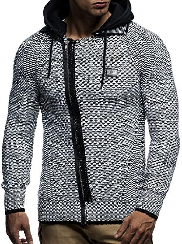 Leif Nelson Męska kurtka z dzianiny z kapturem Slim Fit gruba dzianina nowoczesna czarna męska bluza z kapturem kurtka zimowa z długim rękawem gruba dzianina 7055: Odzież