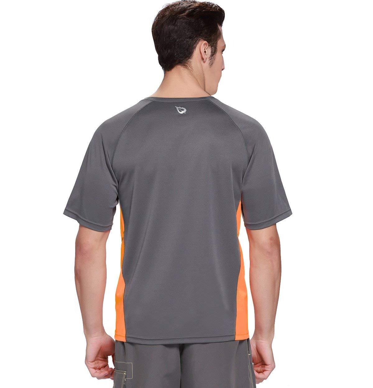 Baleaf Men's Short Sleeve Sun Protection Rashguard Swim Shirt UPF 50+ Dark Grey M by Baleaf (Image #2)