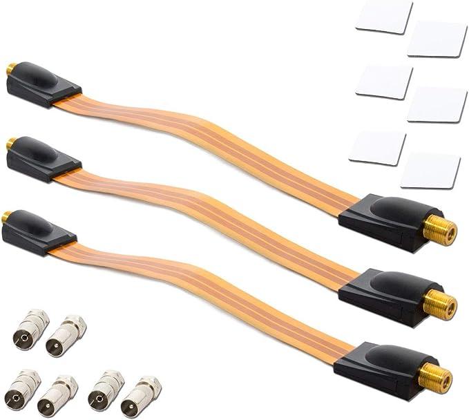 PremiumX 2X Cable pasaventanas Sat Entrada de la Ventana de Cable satelital + 4 Ojales de Goma Cable Plano - Conjunto de Ventanas y Puertas Ultra ...