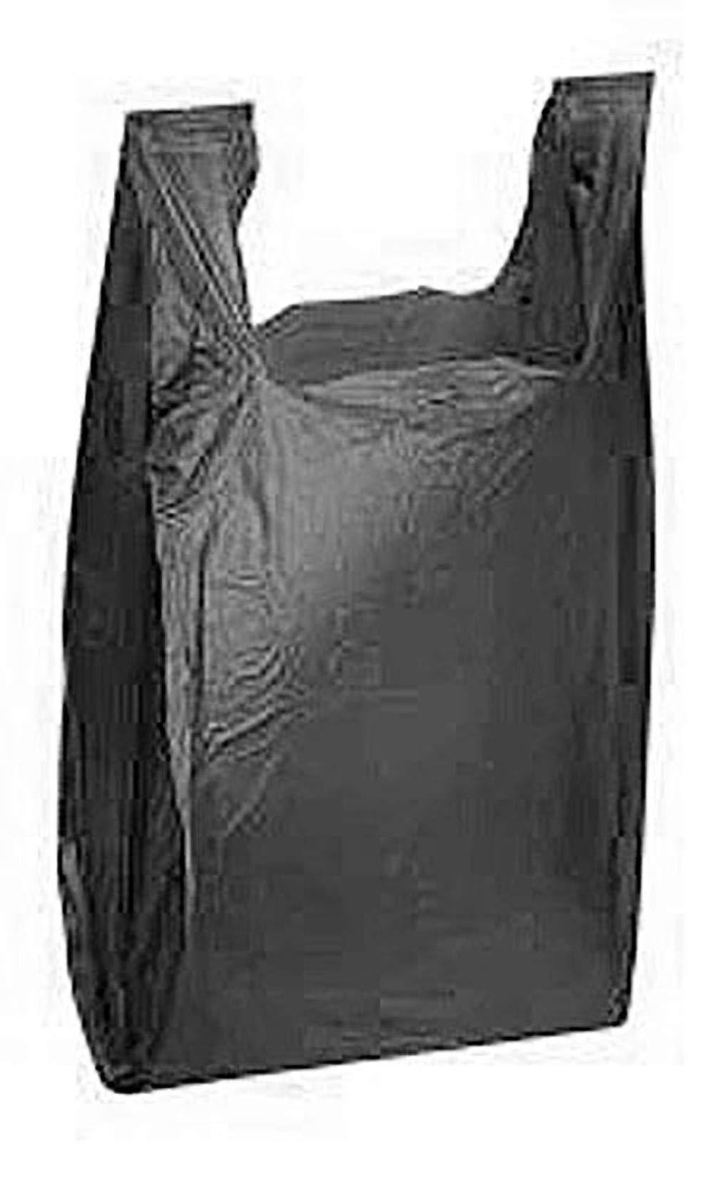 Black Plastic T-Shirt Shopping Bags (11 ½'' x 6'' x 21'') - Case of 1,000