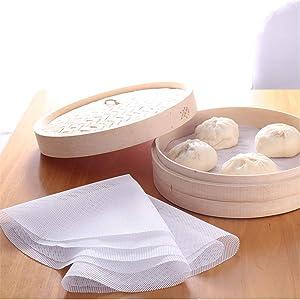 MonLiya 6Pack- 4.72inch Reusable Steamer Mesh Pads, Non-stick Round Shape Dumplings Mat Silicone Steamer Pad Kitchen Cooking Steam Mat for Home Kitchen Restaurant