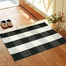 Wolala Home Black White Plaid Stripes Cotton Washable Rug Durable Livingroom Solid Floor Rug Simple Fashion Doormat Floor Mat Kitchen Area Rug (2'0x3'0)