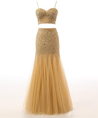 Changjie Womens Bead Tulle Formal Juniors Graduation Two Piece Prom Dresses