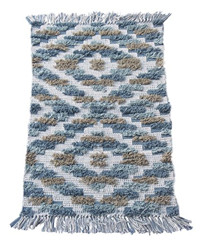 "Chardin home Arabella Hand Woven Cotton Accent and Bath Rug Machine Washable, 20'' W x 32"" L, Blue/Gray/White - Natural: 100% natural cotton is used in making this beautiful rug Versatile: Soft & absorbent accent rug is perfect for bath, kitchen, bedroom or decor room Handwoven: Each rug is handcrafted by skilled artisans using age old weaving techniques - bathroom-linens, bathroom, bath-mats - 61yfh70BbAL -"