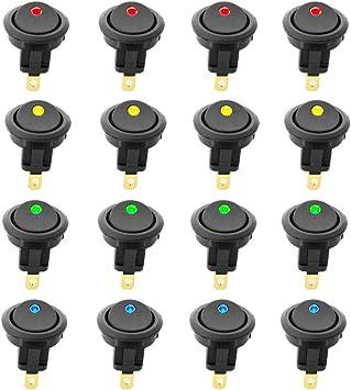 Ytian 5 Pcs DC 20A 12V Rond Interrupteur /à Bascule pour Voiture Bateau avec LED Bleu