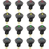KINYOOO 16 pcs ミニ車のボート19mm LEDインジケータのロッカースイッチ、ボタン ミニ丸い イッチ、ブルーレッドグリーンイエロー DC 12V 20A 3ピンオン - オフ、 SPST適合追加電子機器用