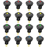 KINYOOO 16 pcs LED Interrupteur à Bascule, DC 12 V 20 A on/Off Self Verrouillage Interrupteur Spst Bouton Poussoir Rond(Rouge ×4 P, Jaune ×4 P, Bleu ×4 P, Vert ×4 P)