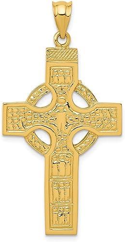 14K Yellow Gold Claddagh Cross Pendant Jewelry