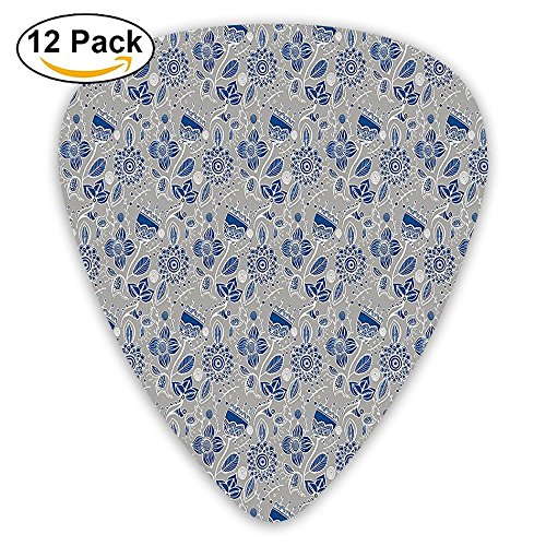 (Newfood Ss Embellished Shabby Chic Flower Blooms With Arabesque Effects Boho Guitar Picks 12/Pack Set)
