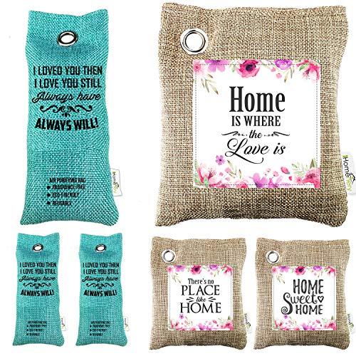 Homenery Bamboo Charcoal Air Purifying Bag (6 Pack) Home Natural Air Purifier & Car Air Freshener Bags - Odor Eliminator Moisture Absorber for Bathroom, Bedroom, Shoe, Closet - Room Deodorizer