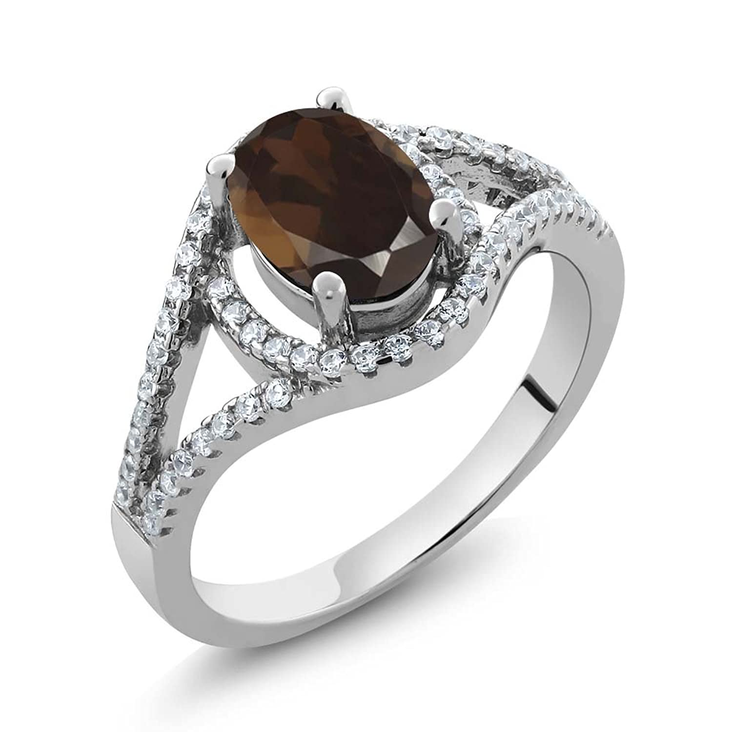 1.91 Ct Oval Brown Smoky Quartz 925 Sterling Silver Women's Ring (Available in size 5, 6, 7, 8, 9)
