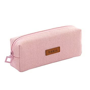 Big Capacity Pencil Case - Student Stationery Pouch Bag for School Office College Large Storage Organizer, Cotton Linen Coin Pouch Cosmetic Bag, Pink