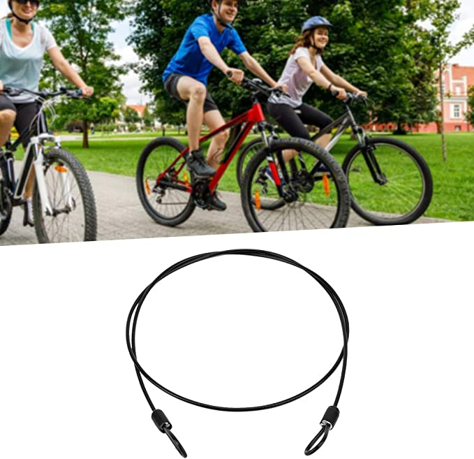 U-Locks black Kafuty Mini Bicycle Cable Lock Cycling Sports Stainless Steel Security Scooter Lock with Double End Loops Used a Secondary Security with Padlocks