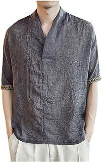 Camicie Uomo Lino Vovotrade Uomini di Marca Casual Maniche Lunghe di Lino Camicie Beach Camicia a Maniche Corte Casual