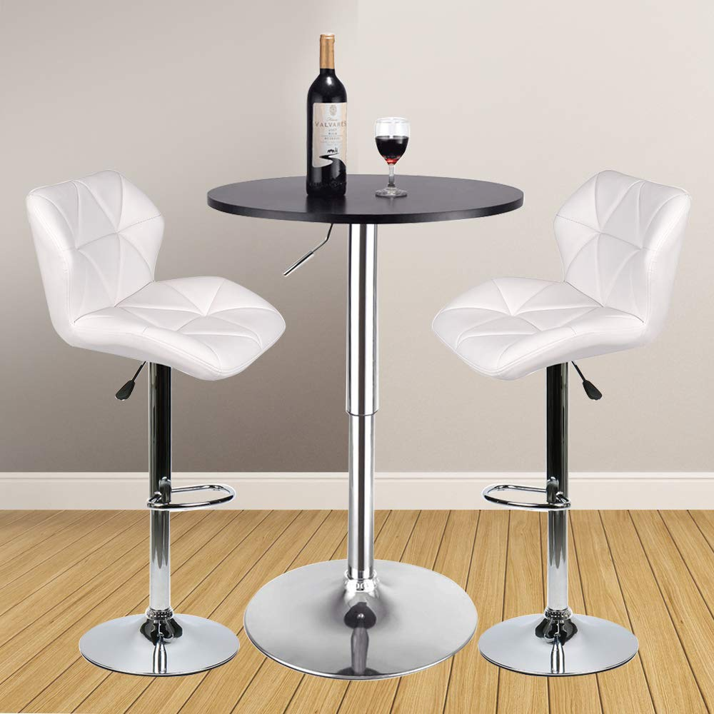 3 Pieces Bar Table Set 24 inch Round Height Adjustable Steel Dining Bistro  Kitchen Table with 2 Velvet Bar Stools (PU Leather White Barstool + Black  ...