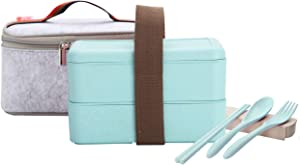 TiLeMiun Stackable Bento Lunch Box, Wheat Straw Japanese Leakproof All-in-one Lunch Container with Lunch Bag & Portable Cultery,Chopsticks/Fork/Spoon,Microwave Safe(47.2oz,Green)