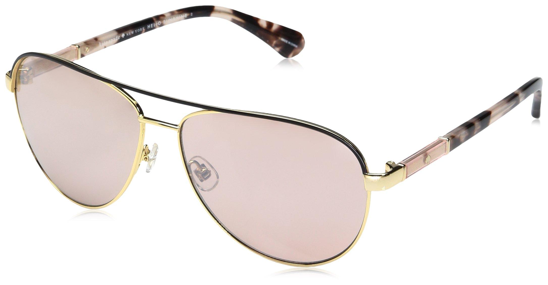 Kate Spade Women's Emilyann/s Aviator Sunglasses, Gold Plum Havana/Pink Flash Silver, 59 mm by Kate Spade New York
