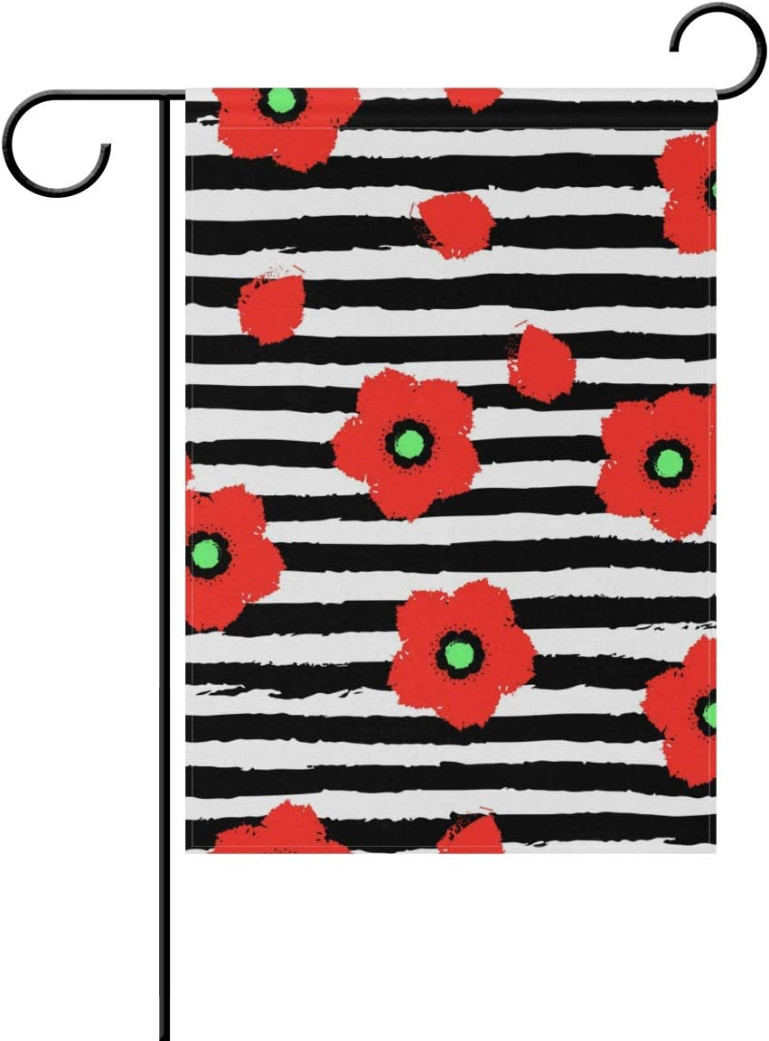 WIHVE Poppy Floral Garden Flag 12 X 18 Inch, Red Poppy Flowers Black White Stripes Double Sided House Flag Spring Summer Decoration for Yard Home Outdoor Decor