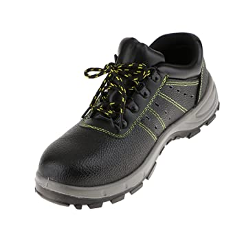 Magideal Zapatos de Seguridad Para Hombres Botas de Cuero de Trabajo Botas de Excursionista - Negro