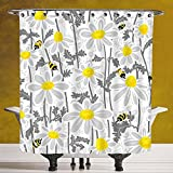 Stylish Shower Curtain 3.0 by SCOCICI [ Grey Decor,Daisy Flowers with Bees in Spring Time Honey Petals Floret Nature Purity Bloom,Yellow White ] Fabric Shower Curtain