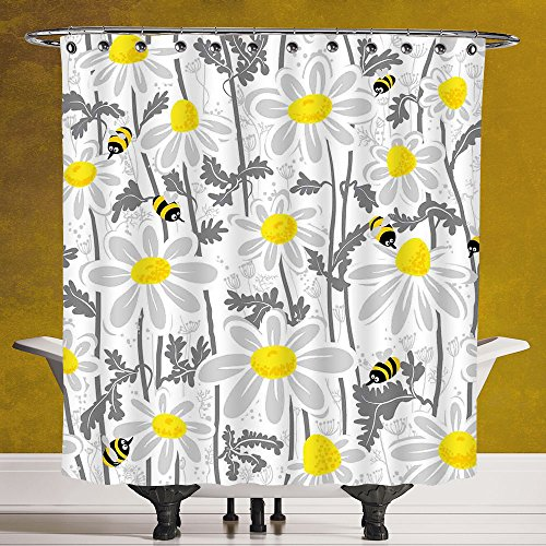 Stylish Shower Curtain 3.0 by SCOCICI [ Grey Decor,Daisy Flowers with Bees in Spring Time Honey Petals Floret Nature Purity Bloom,Yellow White ] Fabric Shower Curtain by SCOCICI
