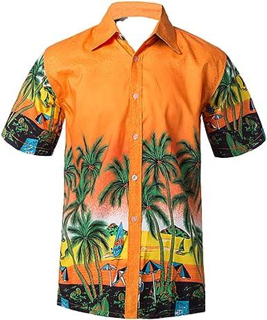 Rcool Camisa Hawaiana Hombre Manga Corta Cómodos Botones Camisa Hombre Slim Fit Shirt Casual Camisas Verano Playa Palma 5 Estilo Amarillo 3XL: Amazon.es: Ropa y accesorios