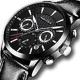 KASHIDUN Men's Watches Sports Military Army Quartz Wristwatch Chronograph Calendar Date Leather Strap Black Color