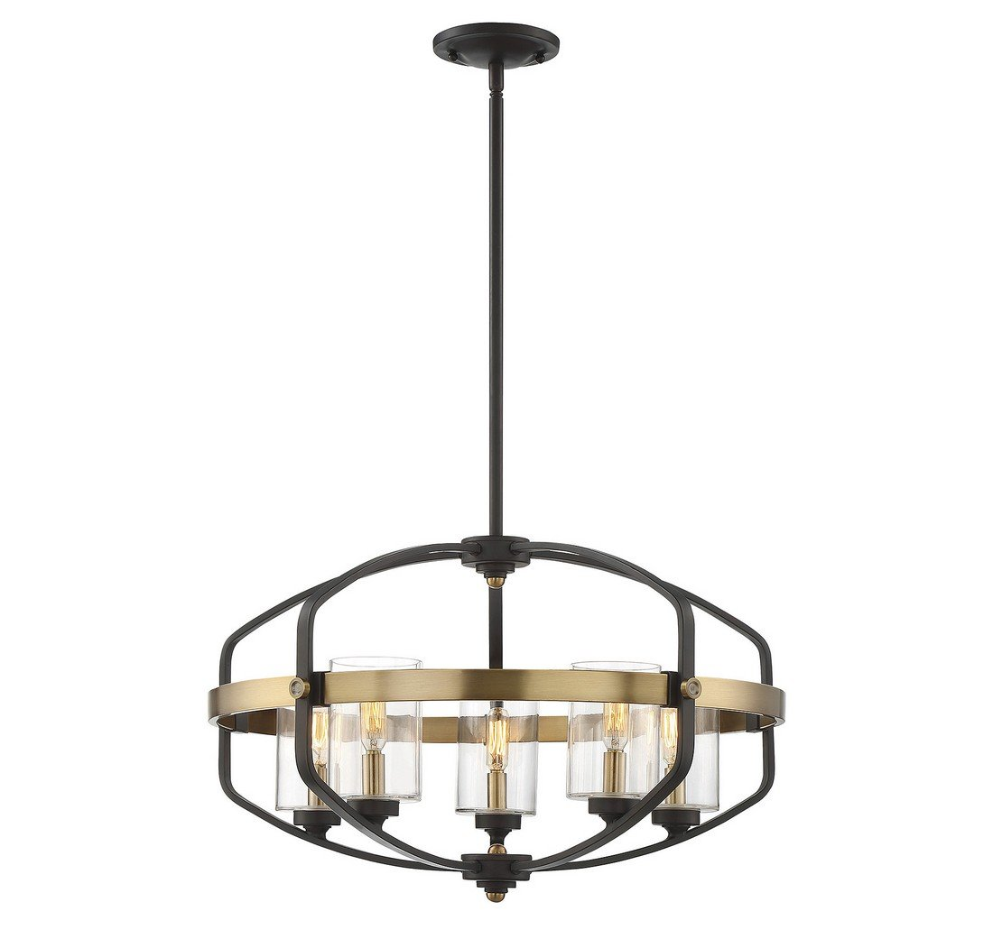 Savoy House 7-8041-5-79 Kirkland 5-Light Pendant in English Bronze and Warm Brass by Savoy House