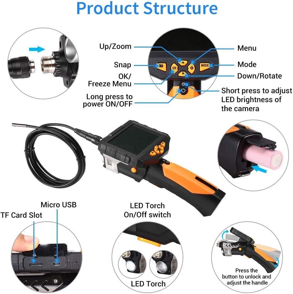 LIUDOU Industrial Endoscope 4.5 Inch 1080P Full HD IPS LCD Digital Inspection Camera Waterproof Borescope Snake Camera Video Detector