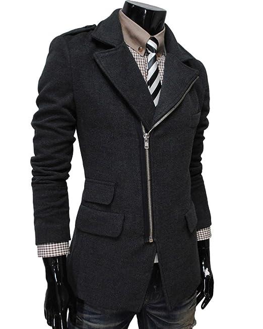 Giacche Uomo Eleganti Casual Solid Giacca Zip Button Tasca del Cappotto  Parka  Amazon.it  Abbigliamento 9799ae196262