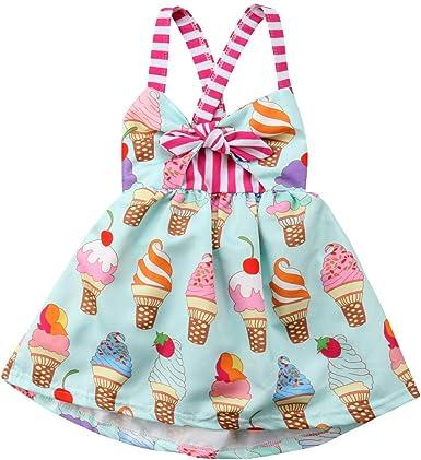 2019 Baby Girl Ice Cream Print Summer Backless Sunderss Halter Sling Beach Dress