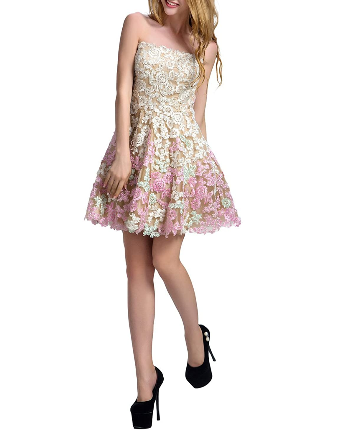 Qunvian Lace Appliques Strapless Homecoming Dresses Short Prom Gowns