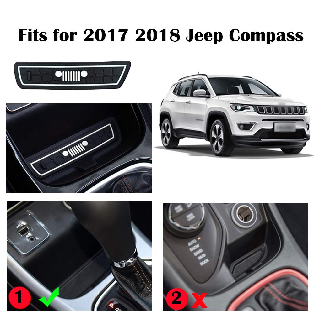 Pack of 15, White Auovo Anti-dust Door Mats for 2017 2018 2019 Jeep Compass Gate Door mats Liner Inserts Cup Console Mat Interior Accessories