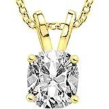 1/2-3 Carat 18K Yellow Gold GIA Certified Cushion Cut Diamond Pendant Necklace Luxury Collection (D-E Color, VS1-VS2…