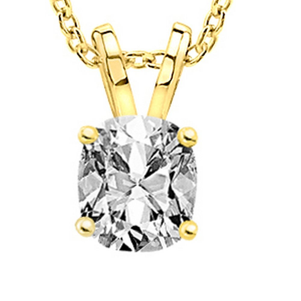 0.70 3/4 Carat GIA Certified Cushion Diamond Solitaire Pendant Necklace D-E Color SI1-SI2 Clarity w/ 18'' 14K Gold Chain