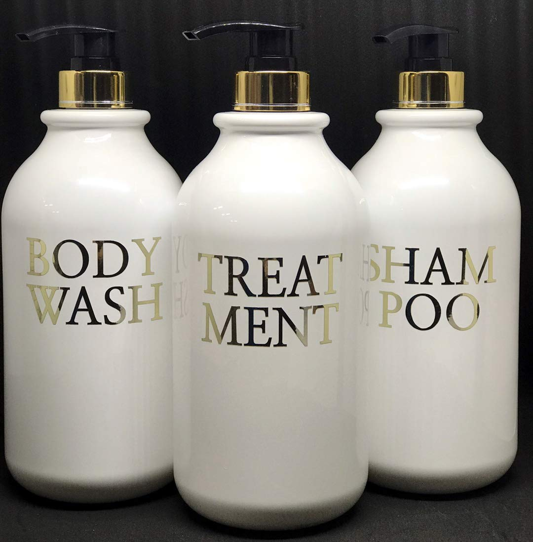 Gold Shower Empty Containers Dispenser Pumps Plastic Bottles for shampoo,Conditioner,Body wash,for Bathroom,Salon,SPA 3 Packs 33.8 Oz White