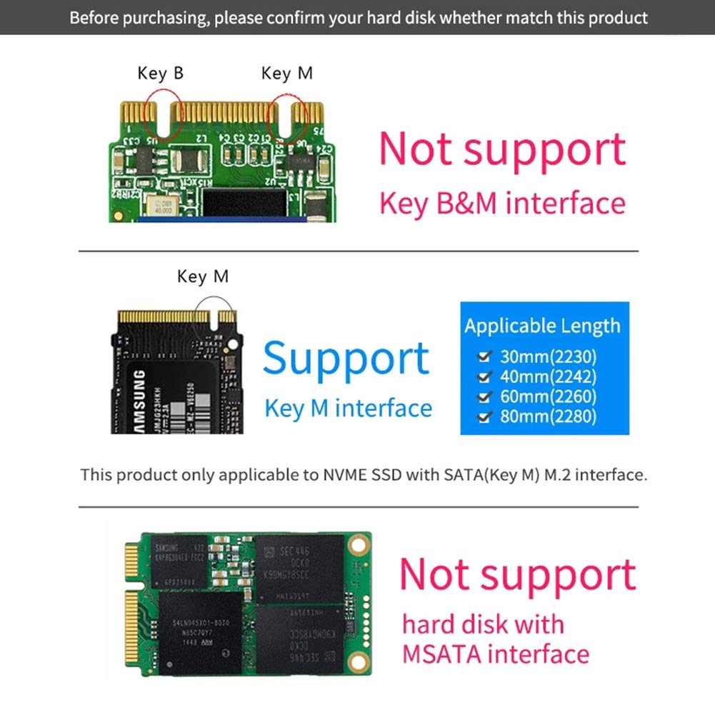Type C Interface to USB for 30mm-80mm Key M Interface SSD M.2 to USB3.0 SSD Straight Intert Cabinet 2230//2242 Solid State Drive Adapter