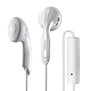 Edifier P180 Headphones with Mic and Inline Control - Stereo Earbud Earphone Earpod Headphone with Microphone and Remote for iOS and Android Smart Phones - White