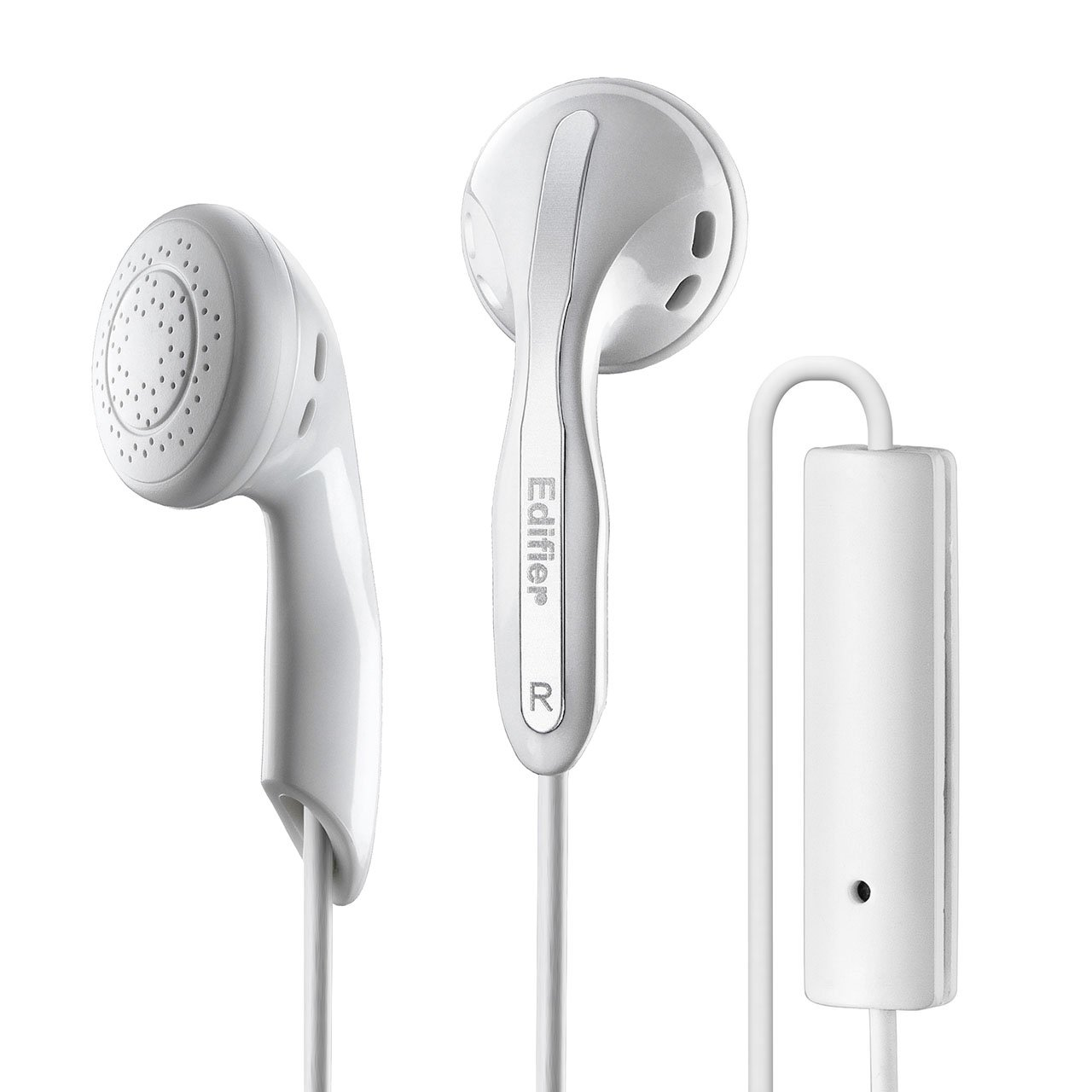 Edifier P180 Headphones with Mic and Inline Control - Stereo Earbud Earphone Earpod Headphone with Microphone and Remote For Apple iPhone Samsung HTC Nokia - White