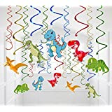 30 Ct Dinosaur Hanging Swirl Decorations - Dino Fossil Jurassic T-REX Birthday Party Supplies Ornaments