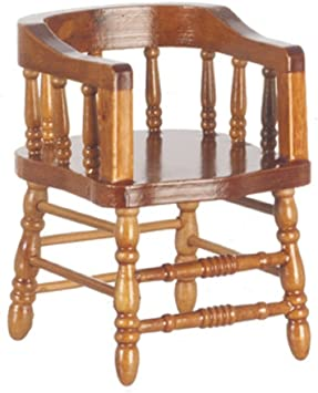 Dolls House Walnut Chair Firehouse Captains Pub Bar Dining Room Furniture