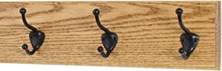 """product image for Oak Wall Mounted Coat Rack with Bronze Hooks 4.5"""" Ultra Wide (Golden Oak, 15"""" x 4.5"""" with 3 Hooks)"""