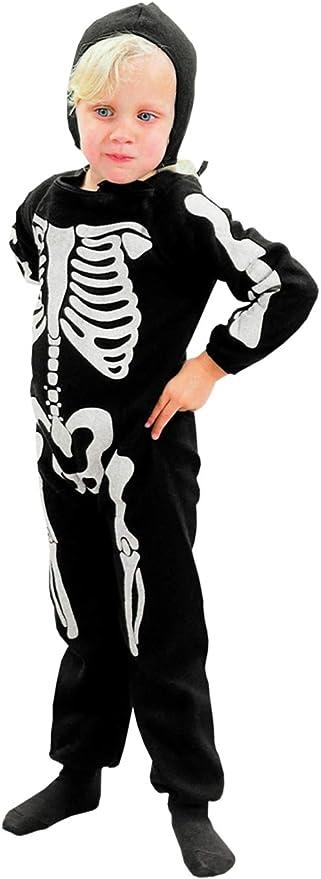 Halloween Kostuem Skelett Amazon.Unbekannt Skelett Knochen Kostum Halloween Fasching 3 4 J Kinder Amazon De Kuche Haushalt