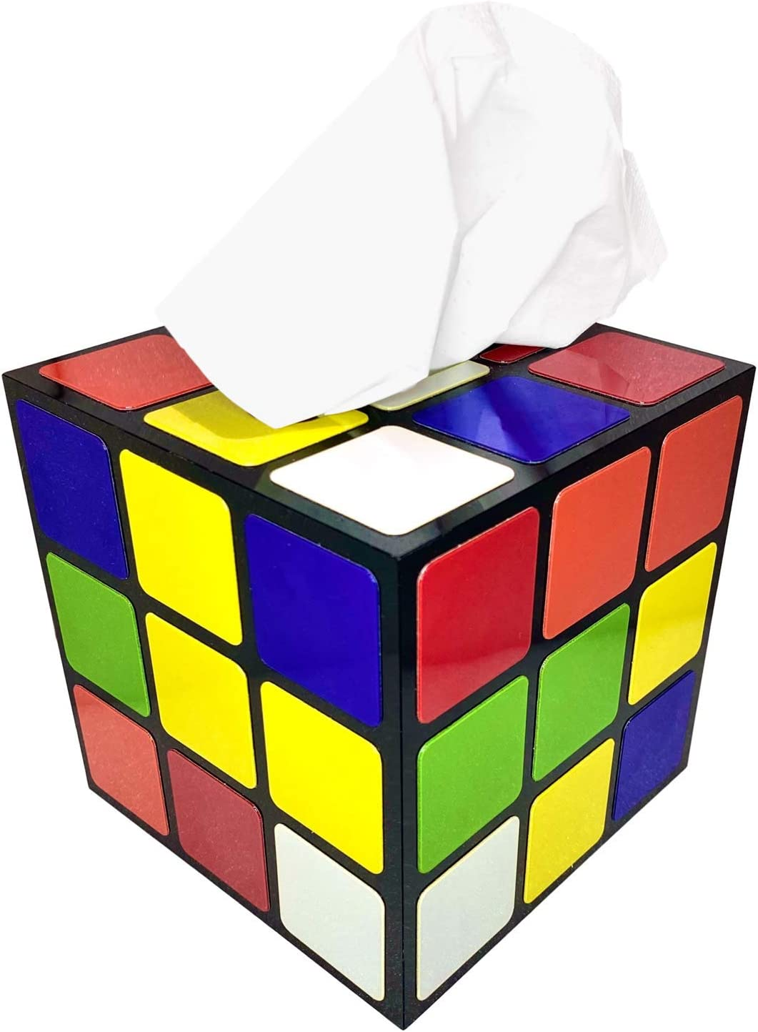 Dacey Rubix Cube Tissue Box Cover | Big Bang Theory Props & Decor | Easy Use with Magnetic Bottom Lid to Keep Tissues Secure
