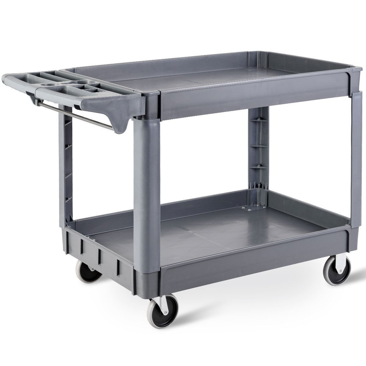 Goplus Plastic Service Cart Utility Storage Cart for All Purpose 550 LBS Capacity (2 Shelves 46'' x 25'' x 33'')